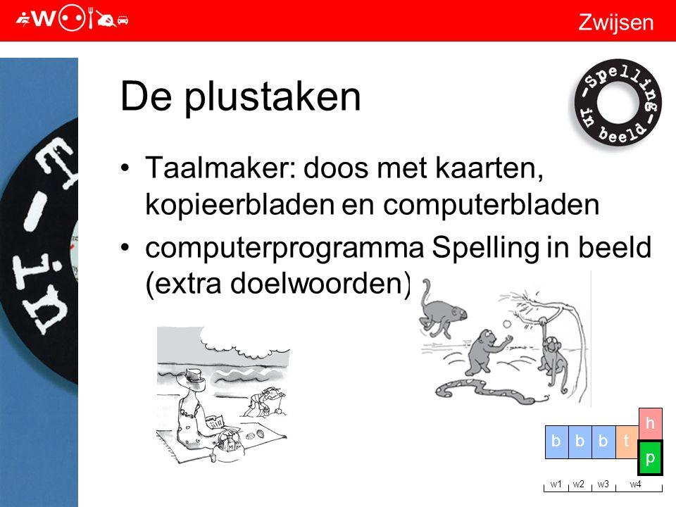 Zwijsen De plustaken Taalmaker: doos met kaarten, kopieerbladen en computerbladen computerprogramma Spelling in beeld (extra doelwoorden) tbbb h p w1 w2 w3 w4 p