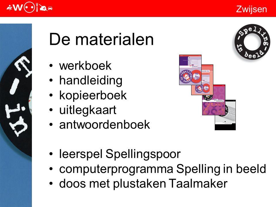 Zwijsen De materialen werkboek handleiding kopieerboek uitlegkaart antwoordenboek leerspel Spellingspoor computerprogramma Spelling in beeld doos met plustaken Taalmaker