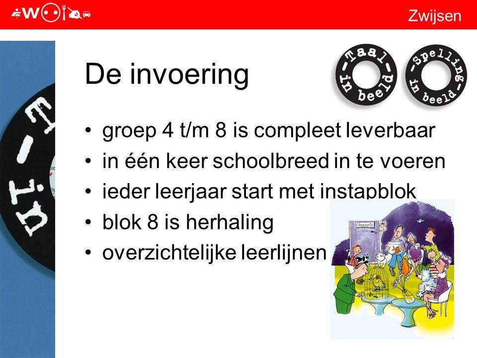 Zwijsen De invoering groep 4 t/m 8 is compleet leverbaar in één keer schoolbreed in te voeren ieder leerjaar start met instapblok blok 8 is herhaling overzichtelijke leerlijnen