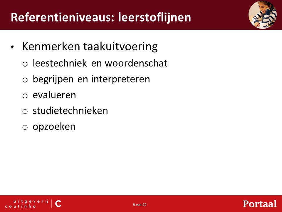9 van 22 Referentieniveaus: leerstoflijnen Kenmerken taakuitvoering o leestechniek en woordenschat o begrijpen en interpreteren o evalueren o studietechnieken o opzoeken