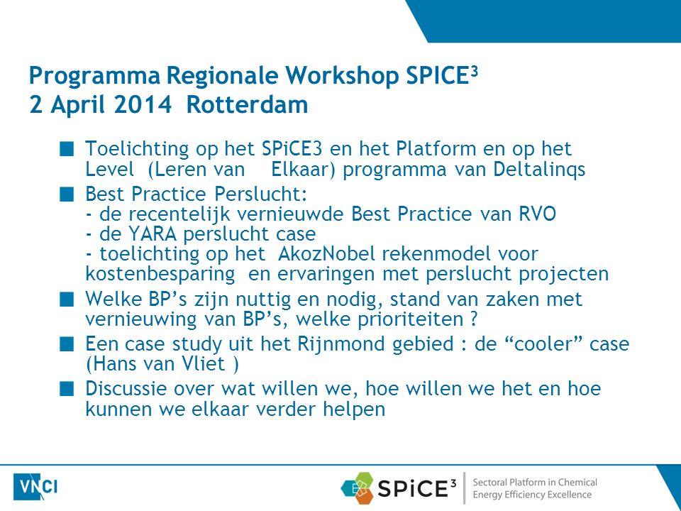 Programma Regionale Workshop SPICE 3 2 April 2014 Rotterdam Toelichting op het SPiCE3 en het Platform en op het Level (Leren van Elkaar) programma van Deltalinqs Best Practice Perslucht: - de recentelijk vernieuwde Best Practice van RVO - de YARA perslucht case - toelichting op het AkozNobel rekenmodel voor kostenbesparing en ervaringen met perslucht projecten Welke BP's zijn nuttig en nodig, stand van zaken met vernieuwing van BP's, welke prioriteiten .