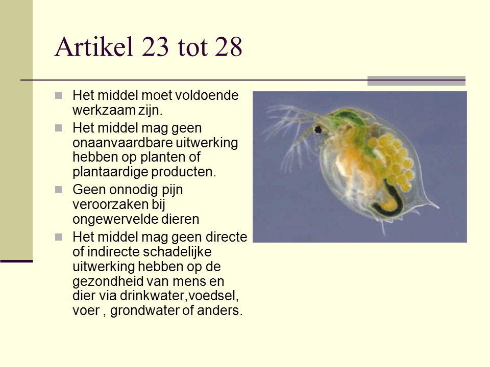 Artikel 23 tot 28 Het middel moet voldoende werkzaam zijn. Het middel mag geen onaanvaardbare uitwerking hebben op planten of plantaardige producten.