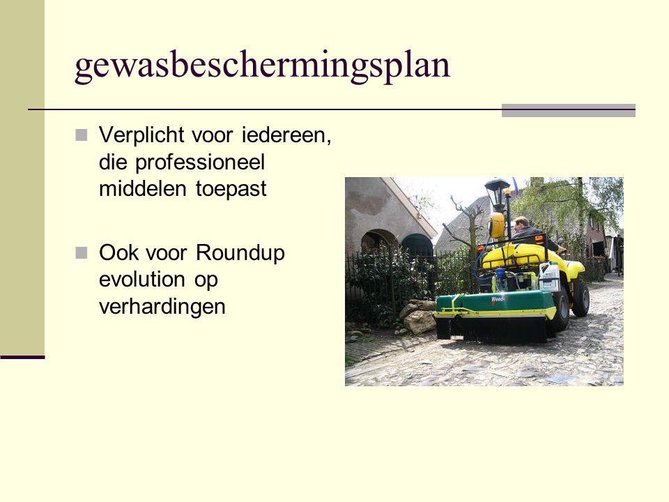 gewasbeschermingsplan Verplicht voor iedereen, die professioneel middelen toepast Ook voor Roundup evolution op verhardingen