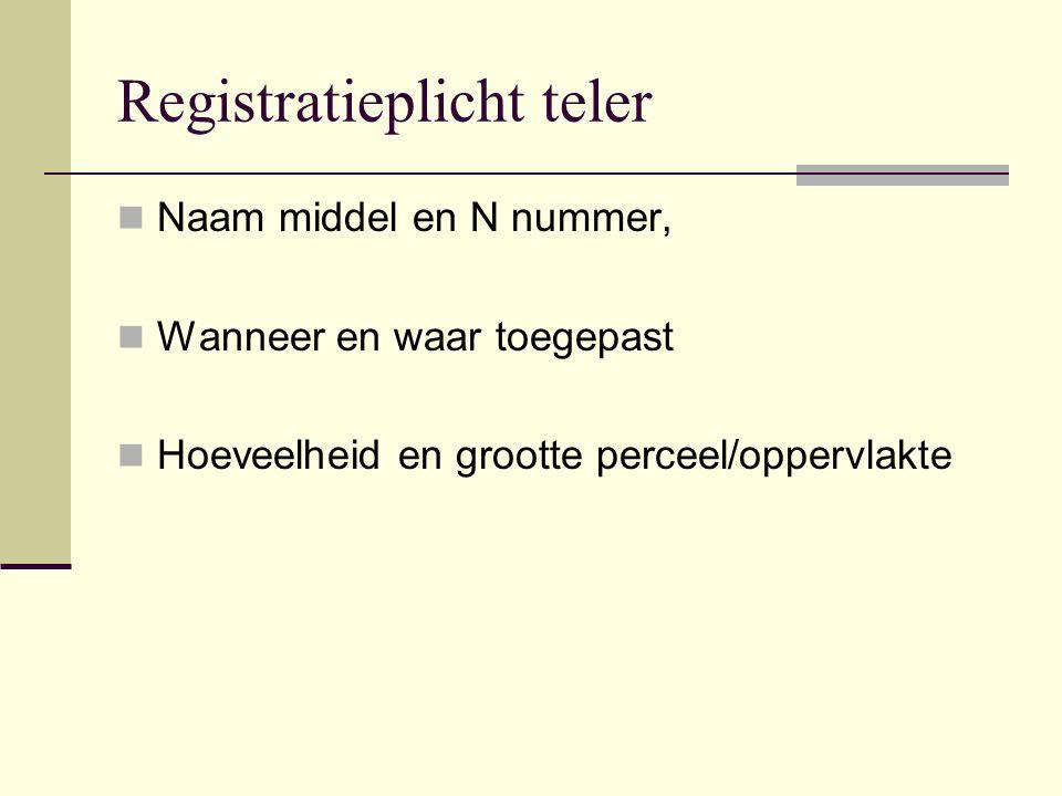 Registratieplicht teler Naam middel en N nummer, Wanneer en waar toegepast Hoeveelheid en grootte perceel/oppervlakte