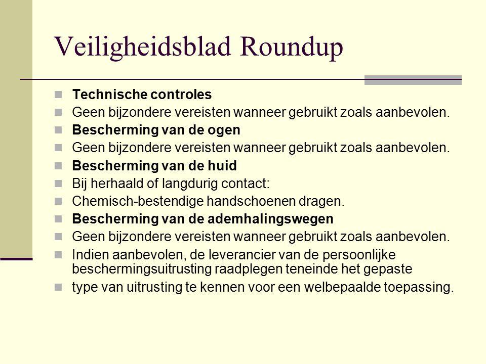 Veiligheidsblad Roundup Technische controles Geen bijzondere vereisten wanneer gebruikt zoals aanbevolen. Bescherming van de ogen Geen bijzondere vere
