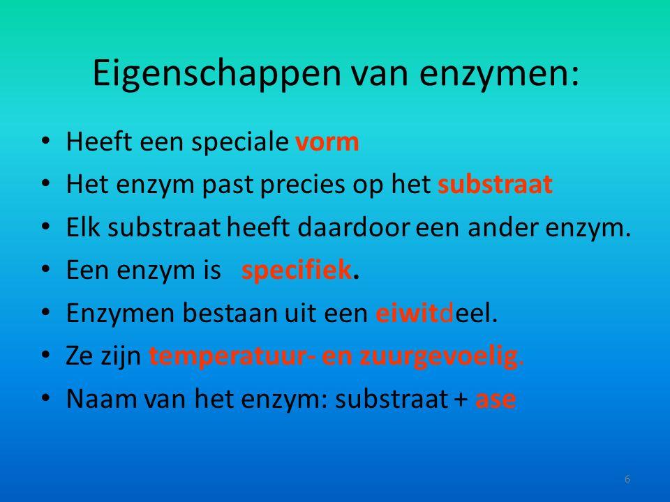 Eigenschappen van enzymen: Heeft een speciale vorm Het enzym past precies op het substraat Elk substraat heeft daardoor een ander enzym.