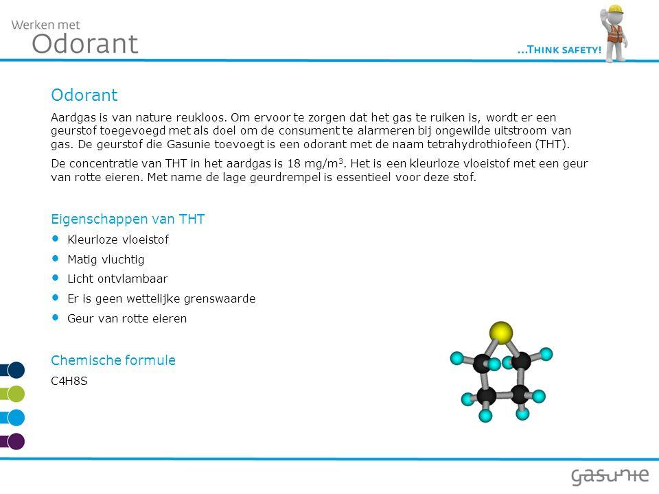 Odorant Aardgas is van nature reukloos. Om ervoor te zorgen dat het gas te ruiken is, wordt er een geurstof toegevoegd met als doel om de consument te
