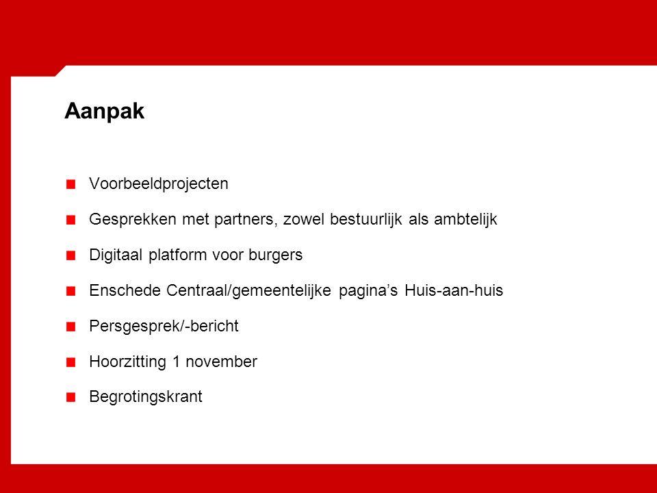 Aanpak Voorbeeldprojecten Gesprekken met partners, zowel bestuurlijk als ambtelijk Digitaal platform voor burgers Enschede Centraal/gemeentelijke pagina's Huis-aan-huis Persgesprek/-bericht Hoorzitting 1 november Begrotingskrant