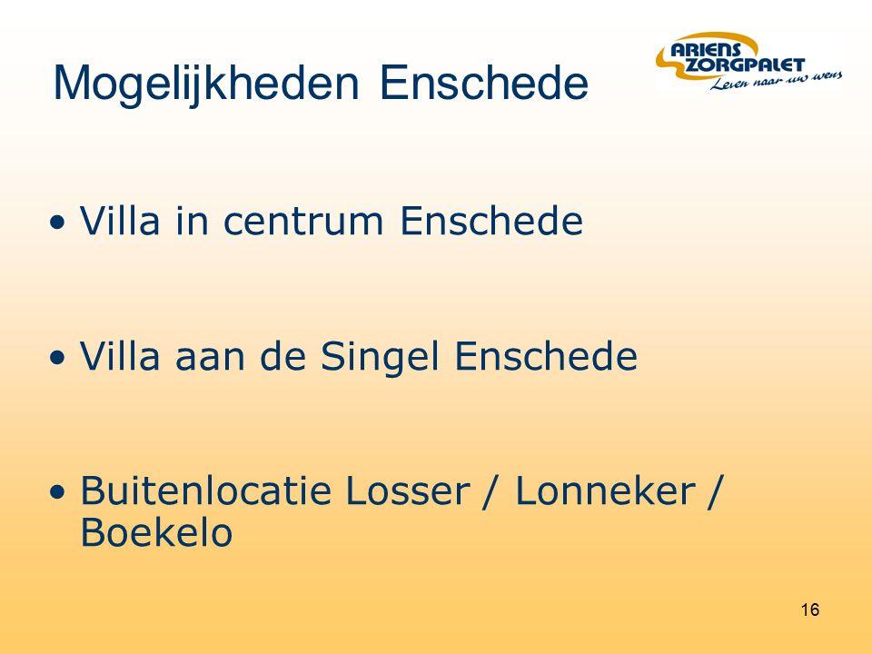 16 Villa in centrum Enschede Villa aan de Singel Enschede Buitenlocatie Losser / Lonneker / Boekelo Mogelijkheden Enschede