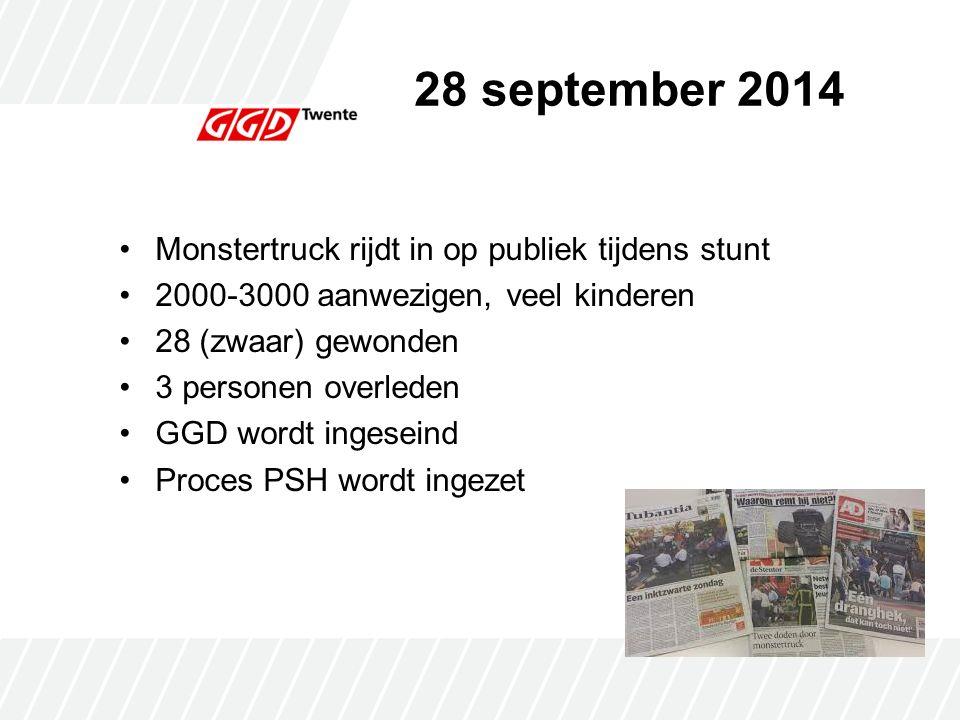 28 september 2014 Monstertruck rijdt in op publiek tijdens stunt 2000-3000 aanwezigen, veel kinderen 28 (zwaar) gewonden 3 personen overleden GGD wordt ingeseind Proces PSH wordt ingezet