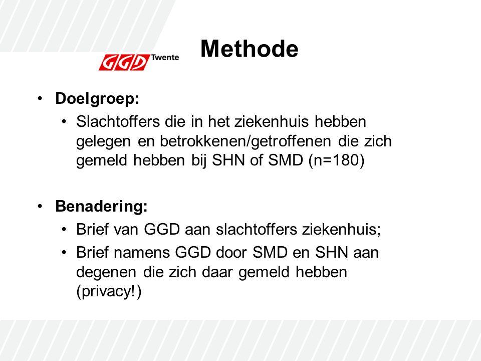 Methode Doelgroep: Slachtoffers die in het ziekenhuis hebben gelegen en betrokkenen/getroffenen die zich gemeld hebben bij SHN of SMD (n=180) Benadering: Brief van GGD aan slachtoffers ziekenhuis; Brief namens GGD door SMD en SHN aan degenen die zich daar gemeld hebben (privacy!)