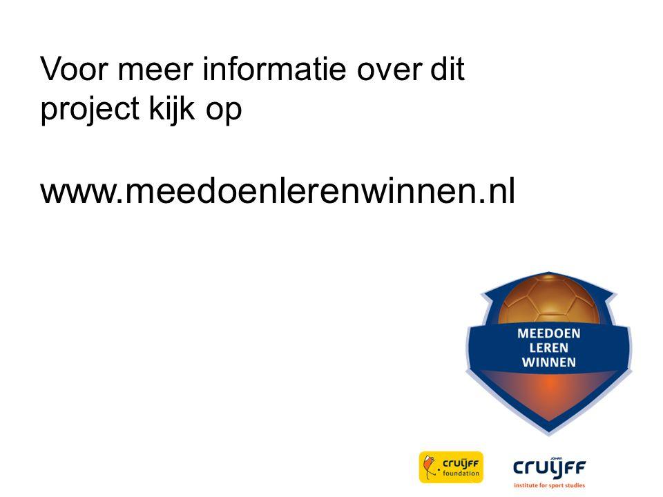 Voor meer informatie over dit project kijk op www.meedoenlerenwinnen.nl