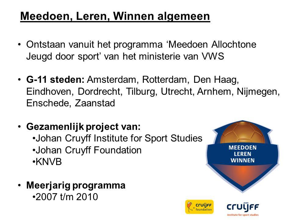 Meedoen, Leren, Winnen algemeen Ontstaan vanuit het programma 'Meedoen Allochtone Jeugd door sport' van het ministerie van VWS G-11 steden: Amsterdam,