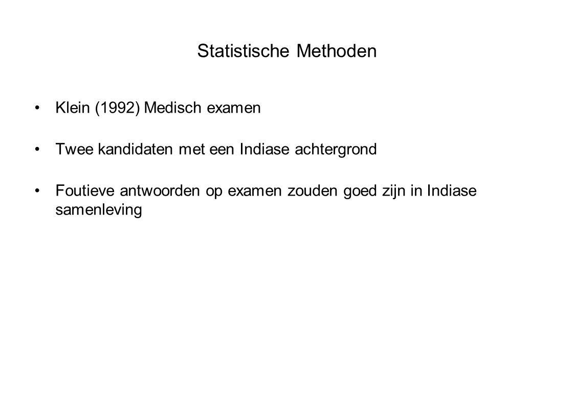Statistische Methoden Klein (1992) Medisch examen Twee kandidaten met een Indiase achtergrond Foutieve antwoorden op examen zouden goed zijn in Indiase samenleving