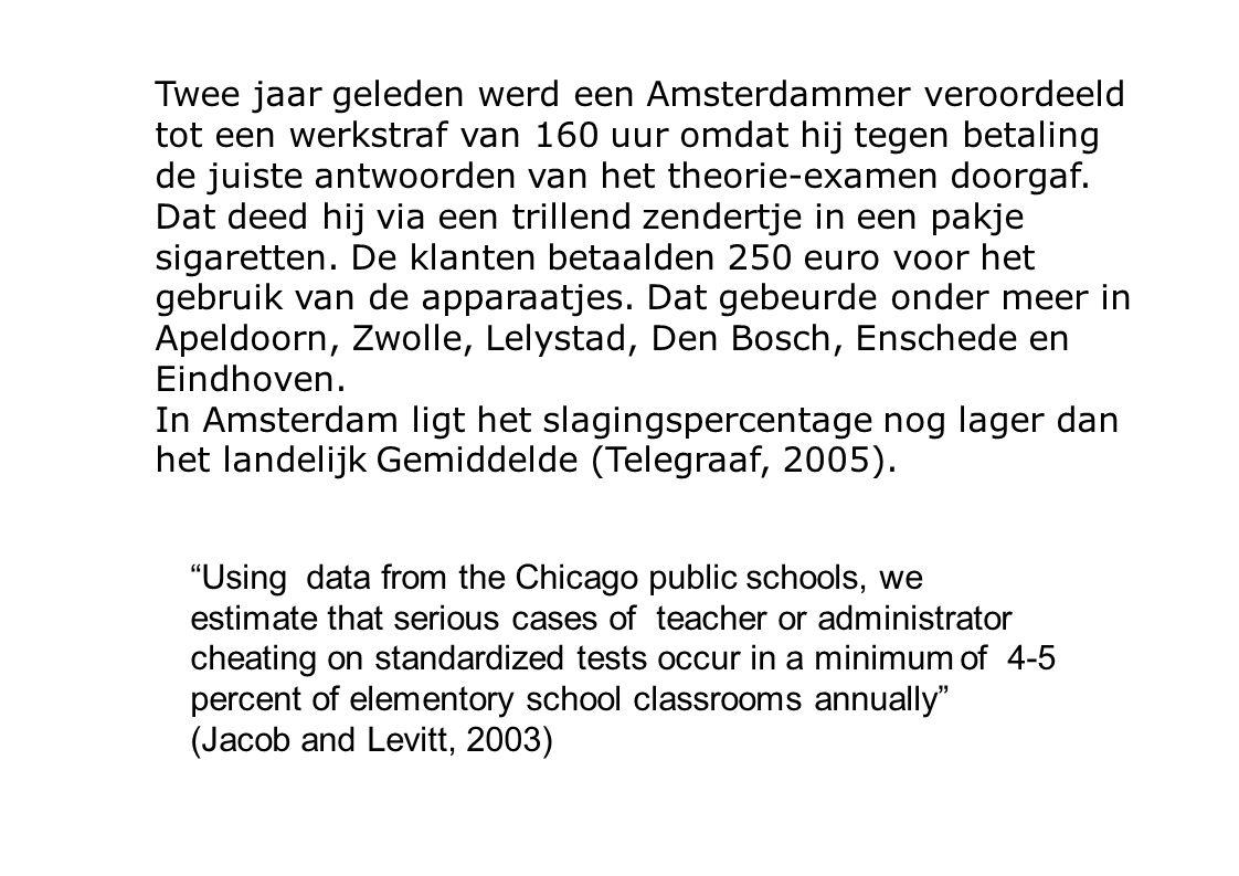 Twee jaar geleden werd een Amsterdammer veroordeeld tot een werkstraf van 160 uur omdat hij tegen betaling de juiste antwoorden van het theorie-examen doorgaf.