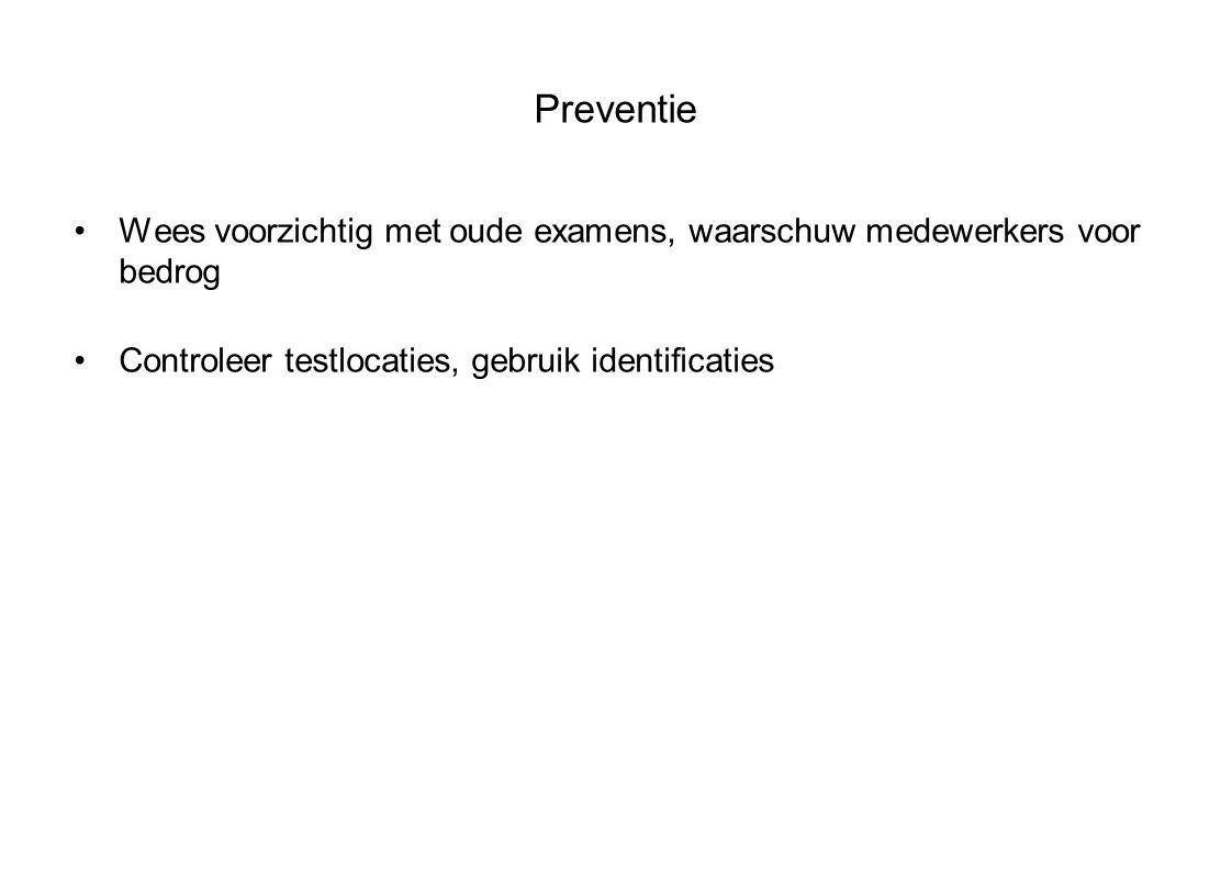 Preventie Wees voorzichtig met oude examens, waarschuw medewerkers voor bedrog Controleer testlocaties, gebruik identificaties