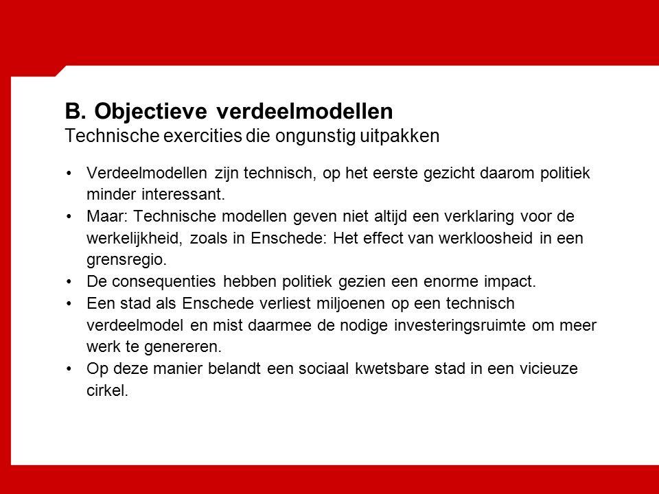 B. Objectieve verdeelmodellen Technische exercities die ongunstig uitpakken Verdeelmodellen zijn technisch, op het eerste gezicht daarom politiek mind