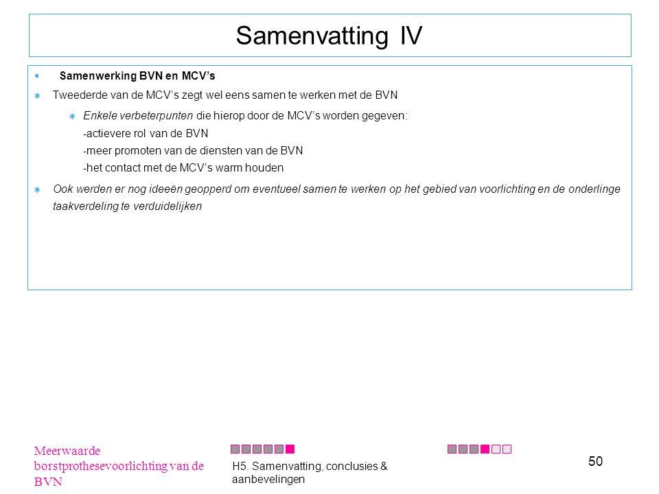 50 Samenvatting IV  Samenwerking BVN en MCV's Tweederde van de MCV's zegt wel eens samen te werken met de BVN Enkele verbeterpunten die hierop door d