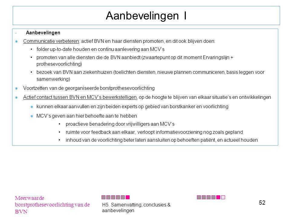 52 Aanbevelingen I -Aanbevelingen Communicatie verbeteren: actief BVN en haar diensten promoten, en dit ook blijven doen: folder up-to-date houden en