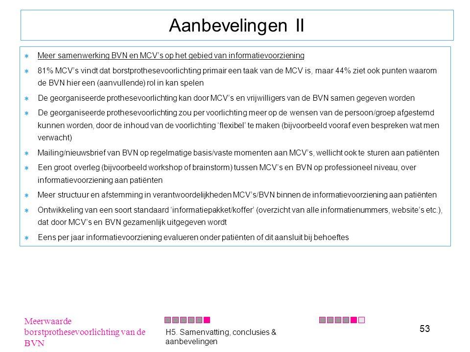 53 Aanbevelingen II Meer samenwerking BVN en MCV's op het gebied van informatievoorziening 81% MCV's vindt dat borstprothesevoorlichting primair een t