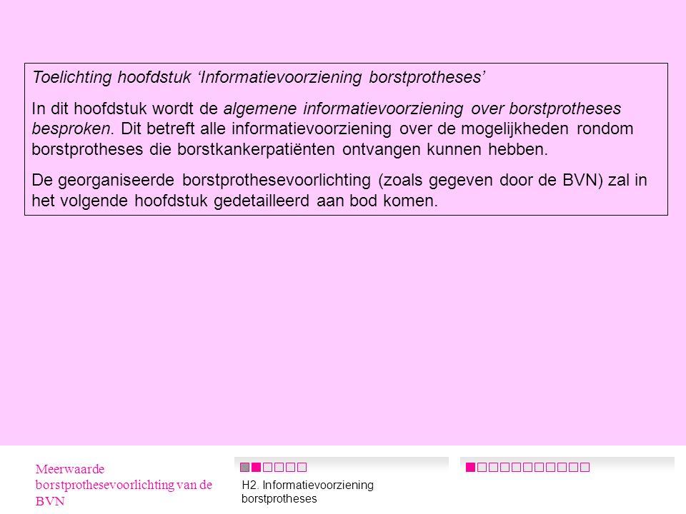 50 Samenvatting IV  Samenwerking BVN en MCV's Tweederde van de MCV's zegt wel eens samen te werken met de BVN Enkele verbeterpunten die hierop door de MCV's worden gegeven: -actievere rol van de BVN -meer promoten van de diensten van de BVN -het contact met de MCV's warm houden Ook werden er nog ideeën geopperd om eventueel samen te werken op het gebied van voorlichting en de onderlinge taakverdeling te verduidelijken Meerwaarde borstprothesevoorlichting van de BVN H5.