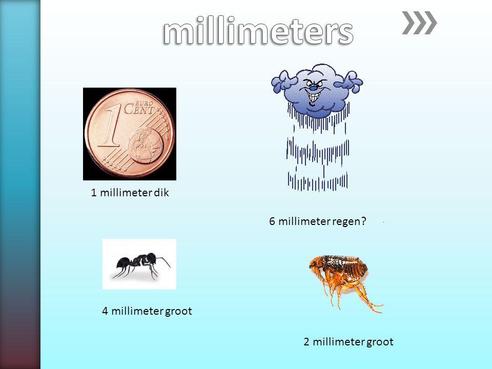 1 millimeter dik 6 millimeter regen? 4 millimeter groot 2 millimeter groot