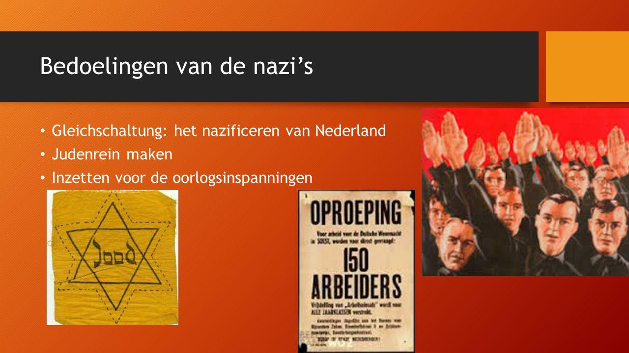 Nazificering Eerst met fluwelen handschoen Nederlanders waren mede Germanen Baas: Seyss-Inquart en de SS Geleidelijk hardere maatregelen Nederlandse organisaties, kranten en omroepen verboden of genazificeerd