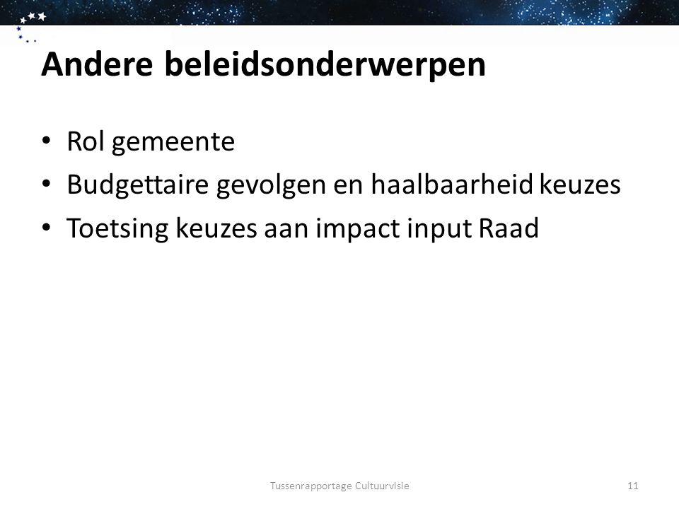 Andere beleidsonderwerpen Rol gemeente Budgettaire gevolgen en haalbaarheid keuzes Toetsing keuzes aan impact input Raad Tussenrapportage Cultuurvisie11