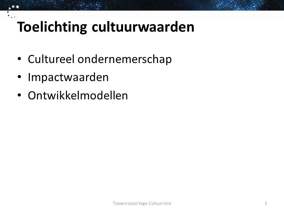 Toelichting cultuurwaarden Cultureel ondernemerschap Impactwaarden Ontwikkelmodellen Tussenrapportage Cultuurvisie5
