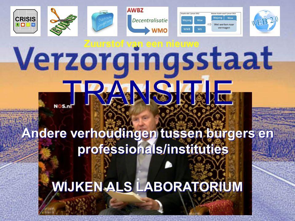Andere verhoudingen tussen burgers en professionals/instituties WIJKEN ALS LABORATORIUM TRANSITIE Zuurstof van een nieuwe