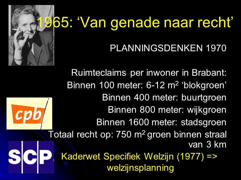 1965: 'Van genade naar recht' PLANNINGSDENKEN 1970 Ruimteclaims per inwoner in Brabant: Binnen 100 meter: 6-12 m 2 'blokgroen' Binnen 400 meter: buurtgroen Binnen 800 meter: wijkgroen Binnen 1600 meter: stadsgroen Totaal recht op: 750 m 2 groen binnen straal van 3 km Kaderwet Specifiek Welzijn (1977) => welzijnsplanning