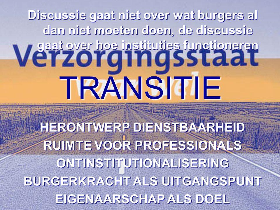 TRANSITIE Discussie gaat niet over wat burgers al dan niet moeten doen, de discussie gaat over hoe instituties functioneren HERONTWERP DIENSTBAARHEID RUIMTE VOOR PROFESSIONALS ONTINSTITUTIONALISERING BURGERKRACHT ALS UITGANGSPUNT EIGENAARSCHAP ALS DOEL