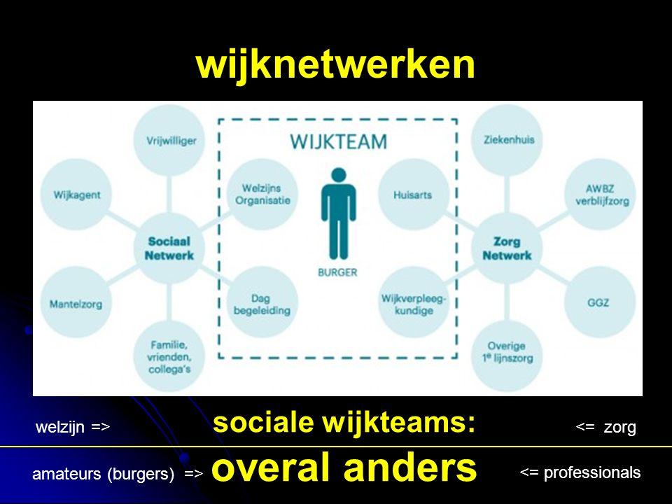 wijknetwerken sociale wijkteams: overal anders <= zorg welzijn => <= professionals amateurs (burgers) =>