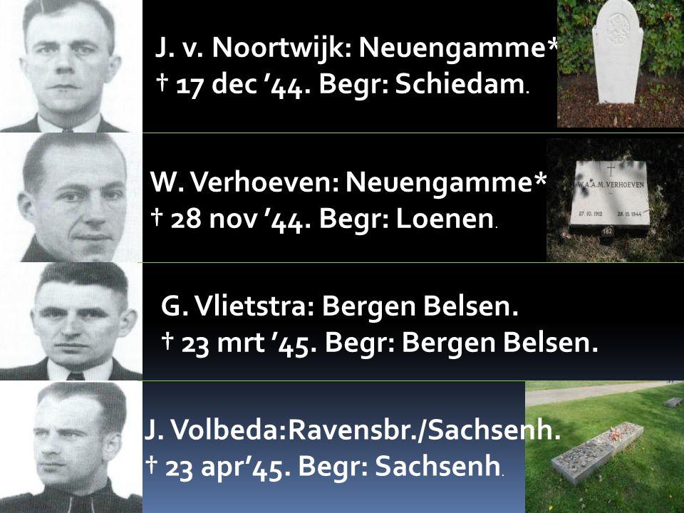 J. v. Noortwijk: Neuengamme*. † 17 dec '44. Begr: Schiedam. W. Verhoeven: Neuengamme*. † 28 nov '44. Begr: Loenen. G. Vlietstra: Bergen Belsen. † 23 m