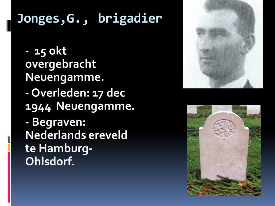 Jonges,G., brigadier - 15 okt overgebracht Neuengamme. - Overleden: 17 dec 1944 Neuengamme. - Begraven: Nederlands ereveld te Hamburg- Ohlsdorf.