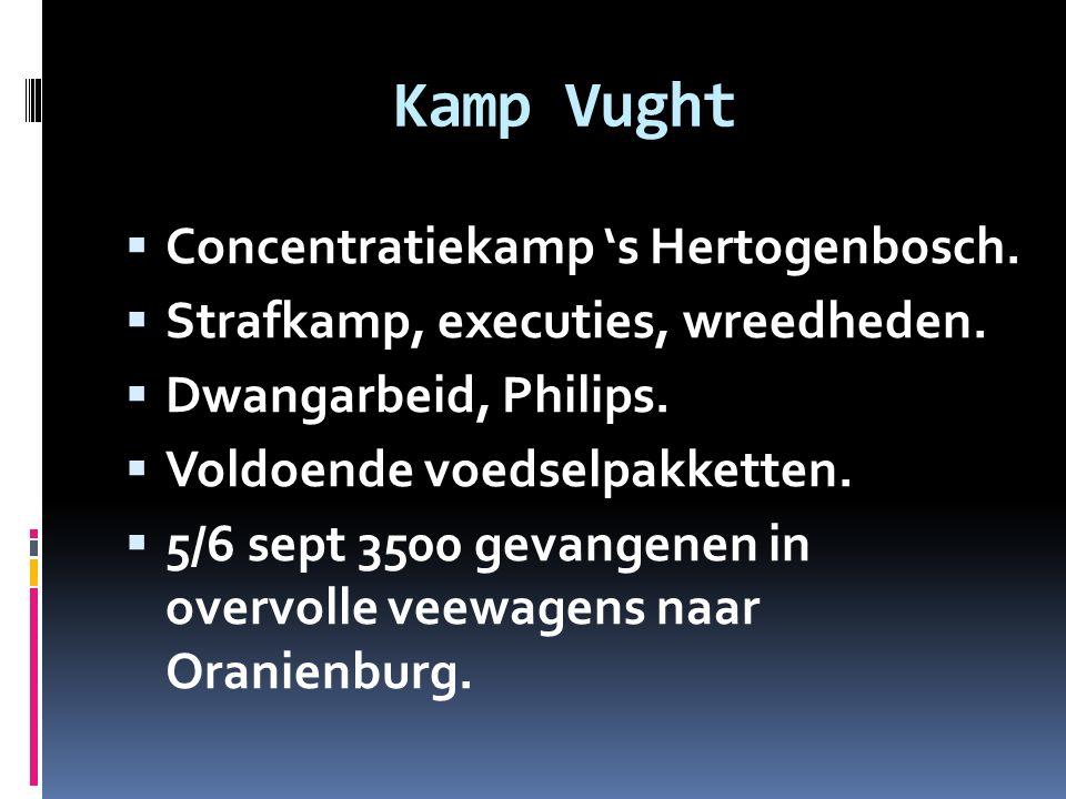 Kamp Vught  Concentratiekamp 's Hertogenbosch.  Strafkamp, executies, wreedheden.  Dwangarbeid, Philips.  Voldoende voedselpakketten.  5/6 sept 3