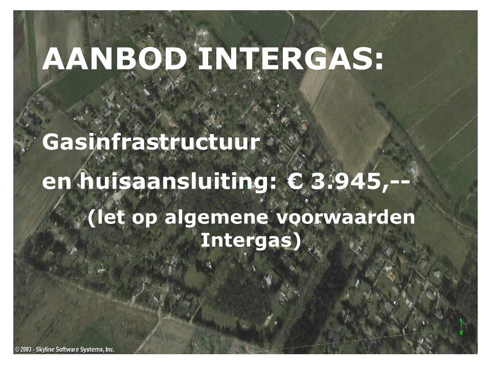 AANBOD INTERGAS: Gasinfrastructuur en huisaansluiting: € 3.945,-- (let op algemene voorwaarden Intergas)