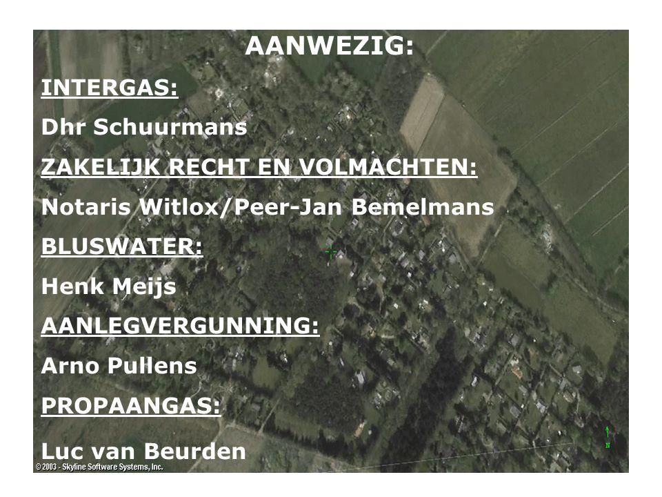 AANWEZIG: INTERGAS: Dhr Schuurmans ZAKELIJK RECHT EN VOLMACHTEN: Notaris Witlox/Peer-Jan Bemelmans BLUSWATER: Henk Meijs AANLEGVERGUNNING: Arno Pullen