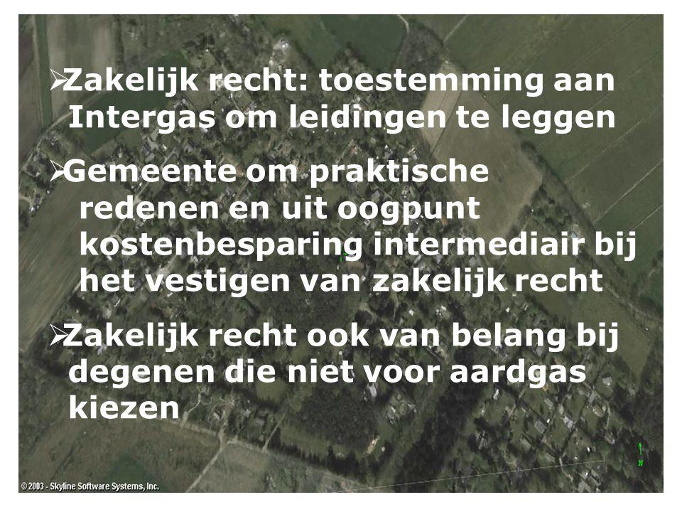  Zakelijk recht: toestemming aan Intergas om leidingen te leggen  Gemeente om praktische redenen en uit oogpunt kostenbesparing intermediair bij het