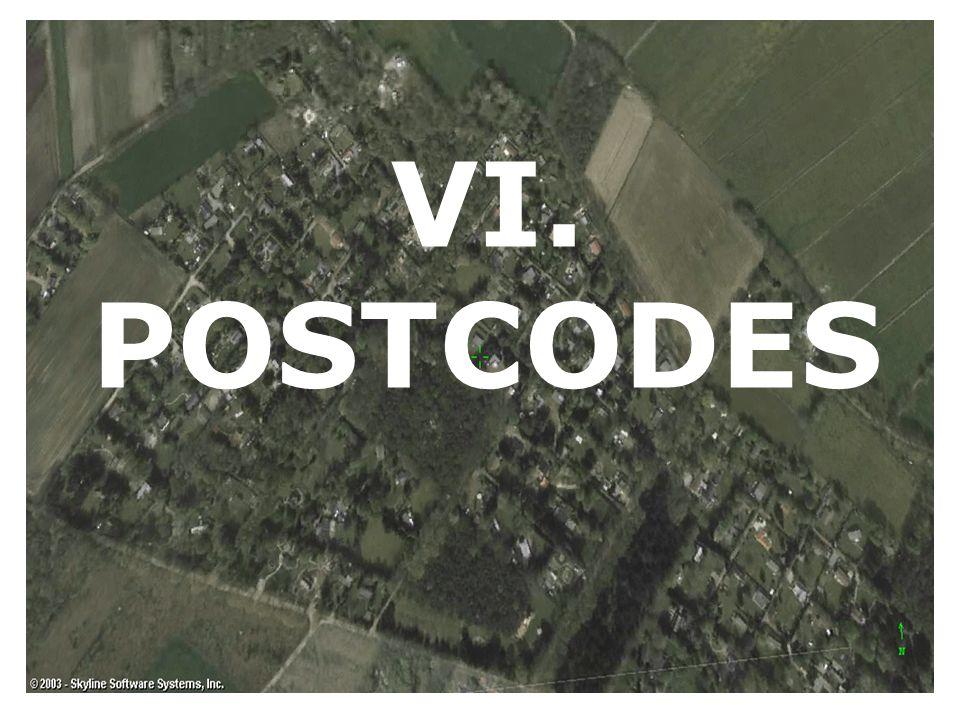 VI. POSTCODES