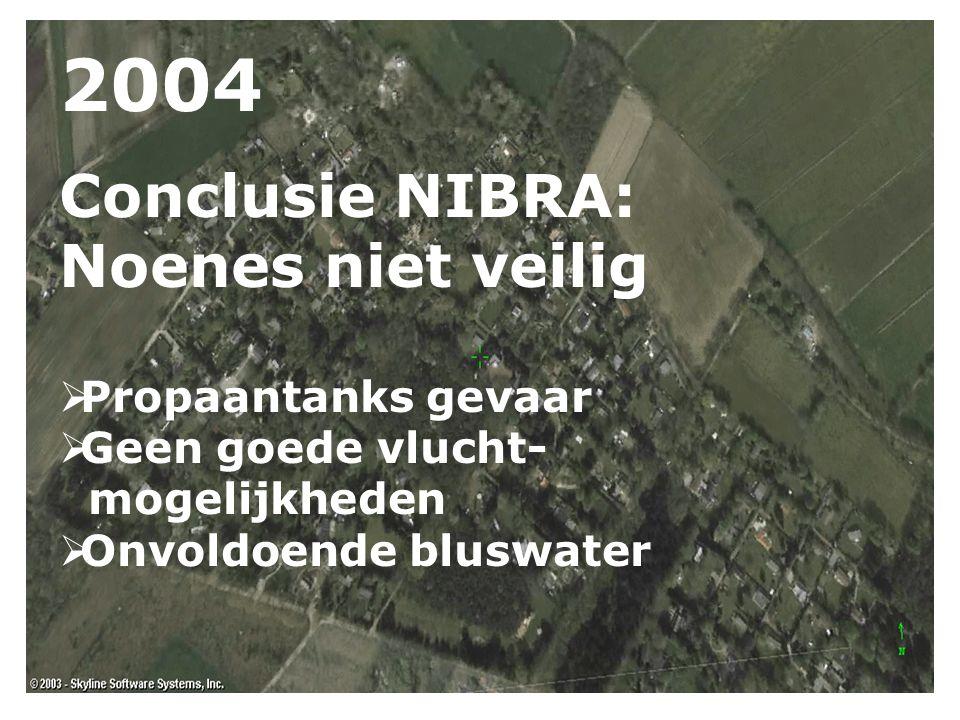2004 Conclusie NIBRA: Noenes niet veilig  Propaantanks gevaar  Geen goede vlucht- mogelijkheden  Onvoldoende bluswater