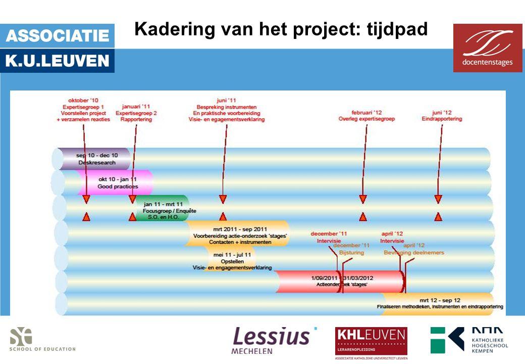 Kadering van het project: tijdpad