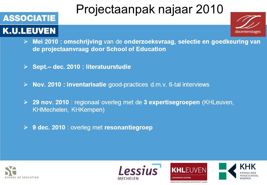 Projectaanpak najaar 2010  Mei 2010 : omschrijving van de onderzoeksvraag, selectie en goedkeuring van de projectaanvraag door School of Education  Sept.– dec.