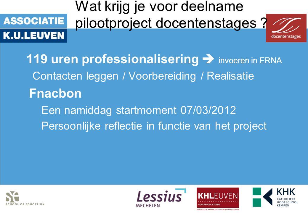 Wat krijg je voor deelname pilootproject docentenstages ? 119 uren professionalisering  invoeren in ERNA Contacten leggen / Voorbereiding / Realisati