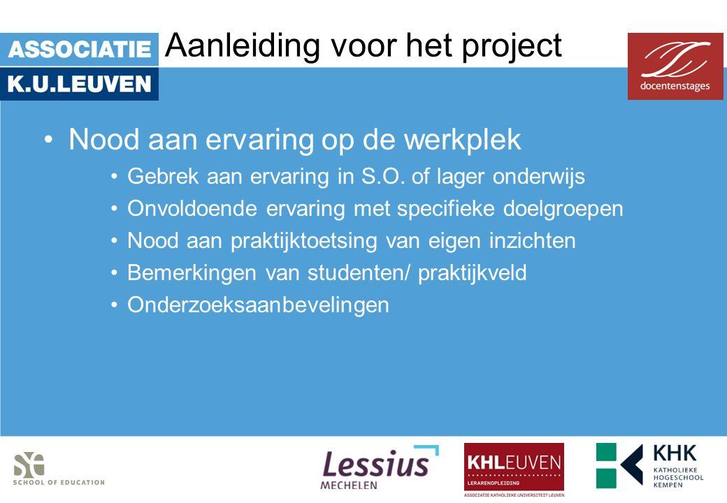 Aanleiding voor het project Nood aan ervaring op de werkplek Gebrek aan ervaring in S.O. of lager onderwijs Onvoldoende ervaring met specifieke doelgr