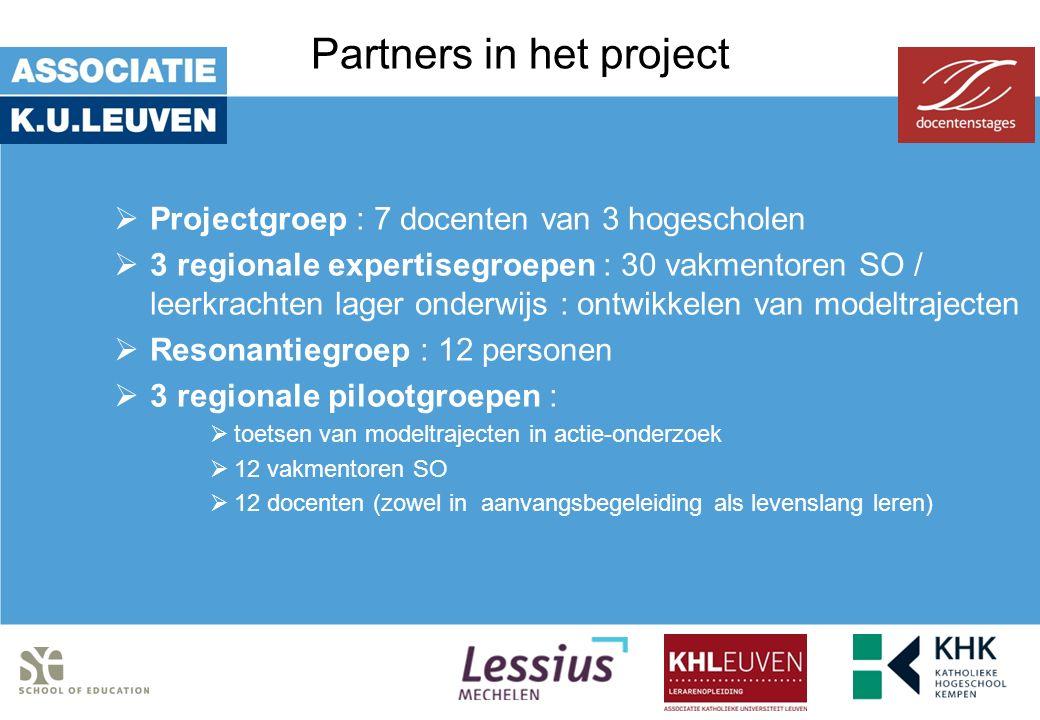 Partners in het project  Projectgroep : 7 docenten van 3 hogescholen  3 regionale expertisegroepen : 30 vakmentoren SO / leerkrachten lager onderwij