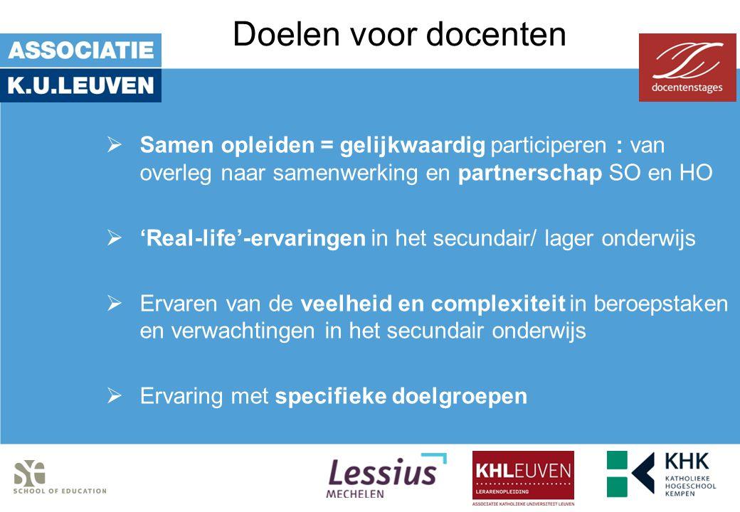 Doelen voor docenten  Samen opleiden = gelijkwaardig participeren : van overleg naar samenwerking en partnerschap SO en HO  'Real-life'-ervaringen i