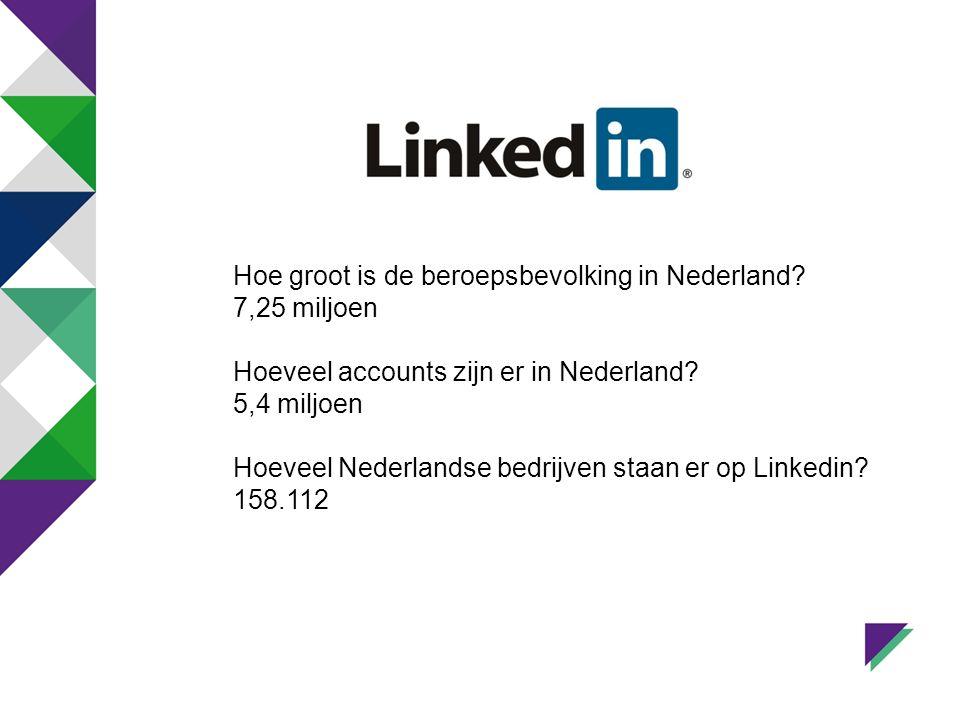 Hoe groot is de beroepsbevolking in Nederland. 7,25 miljoen Hoeveel accounts zijn er in Nederland.