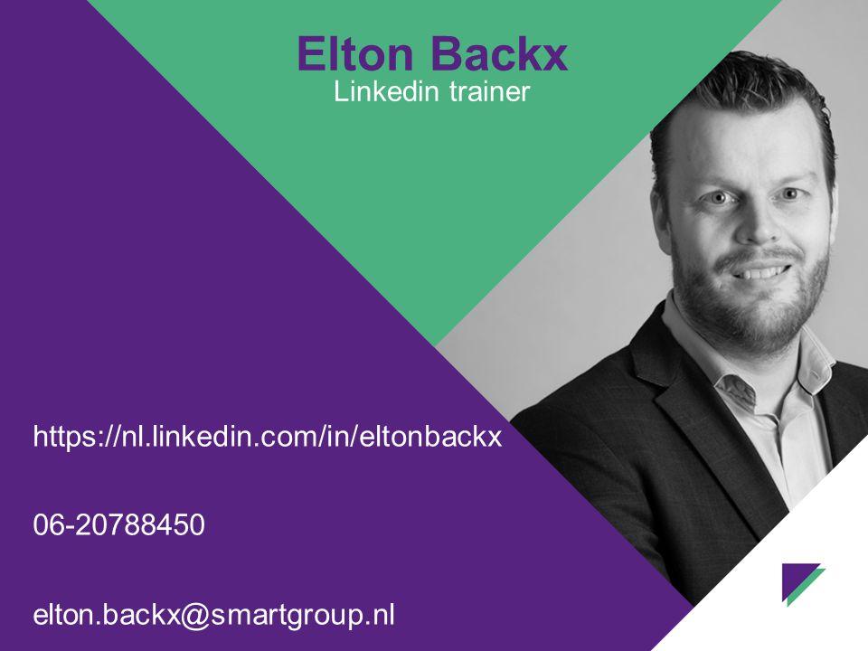 Elton Backx Linkedin trainer https://nl.linkedin.com/in/eltonbackx 06-20788450 elton.backx@smartgroup.nl
