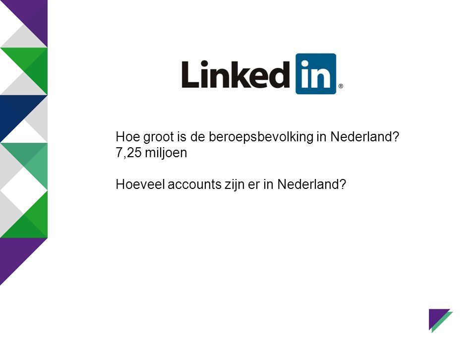 Hoe groot is de beroepsbevolking in Nederland? 7,25 miljoen Hoeveel accounts zijn er in Nederland?